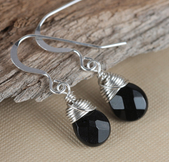 Sterling Silver Wire Wrapped Earrings, Black Quartz and Sterling Silver Earrings, Black Silver Earrings by TheresaRose
