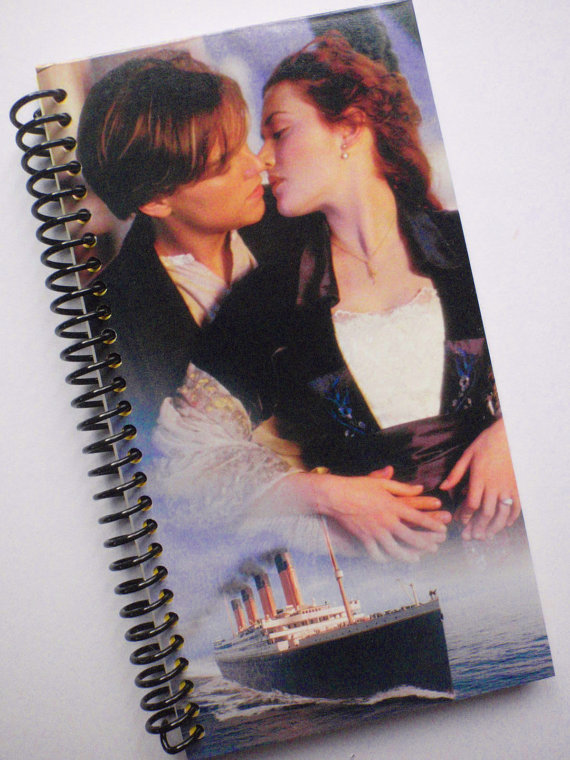 TITANIC Notebook Journal upcycled spiral Vhs movie Leonardo DiCaprio by PortElizabethVillage