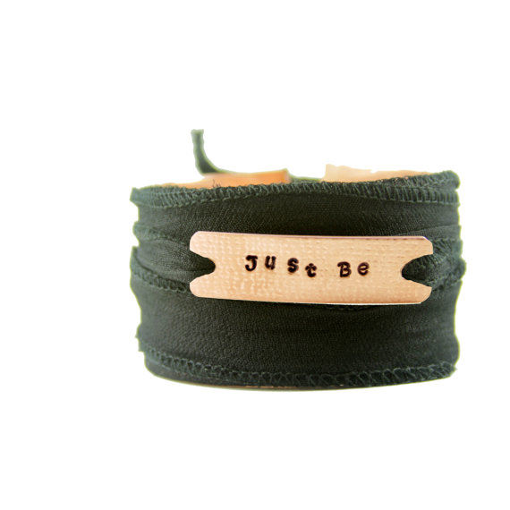 Just Be Personal Inspirational Mantra Affirmation Reclaimed Copper Wrap Bracelet by SusanHarbourtDesigns