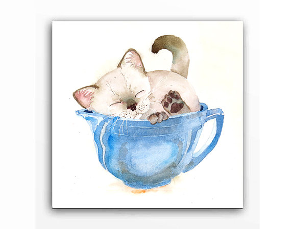 Christmas Sale / Siamese Cat Art / Watercolor Print / Kitten in cup Art / Animal Painting / Pet art Kitten / Cat theme wall art / 8 x 10 C by LaBerge