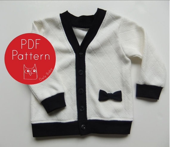 Darling Cardigan PDF Sewing Pattern and Tutorial (sizes NB, 3m, 6m, 12m, 18m, 2t, 3t, Boys / Girls 4, 5, 6) Instant Download by OwlyBaby