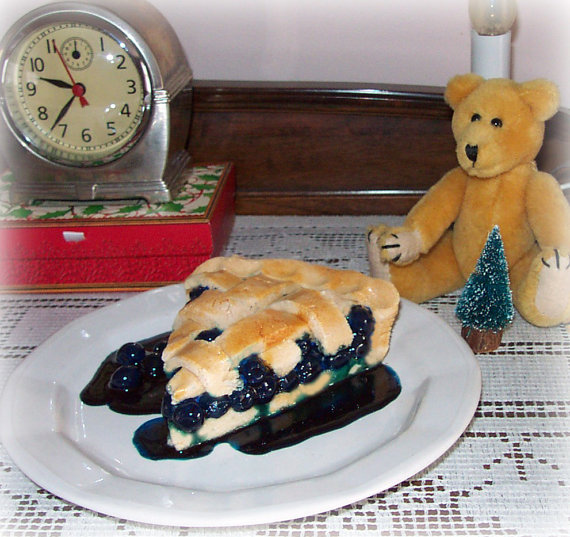Fake Slice of Blueberry Pie Attached to a Dessert Plate Faux Food Prop Staging by FakeFoodDecor