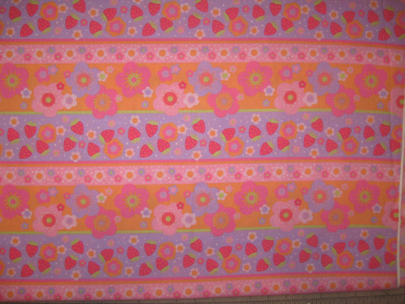 Strawberry Shortcake floral stripe on pink quilt fabric 1 yard 24 & quot; by DelishFabrics