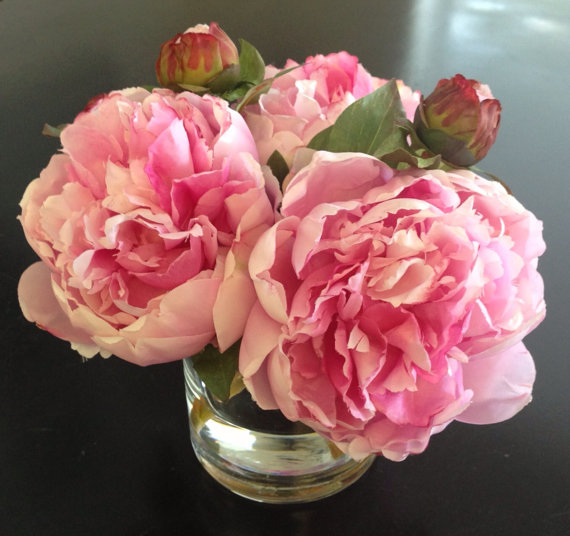 Fine Silk Fl Arrangement Faux Pink Peonies X3 In Round Vase With Illusion Water By Skydesignsusa
