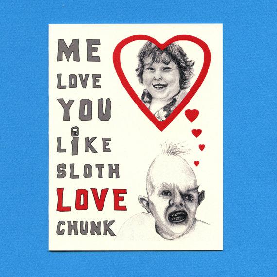 GOONIES I LOVE You Card – Sloth Love Chunk – Goonies – Funny Love Card – Cute Love Card – Goonies Card – Geek Love Card – I Love You Card by seasandpeas