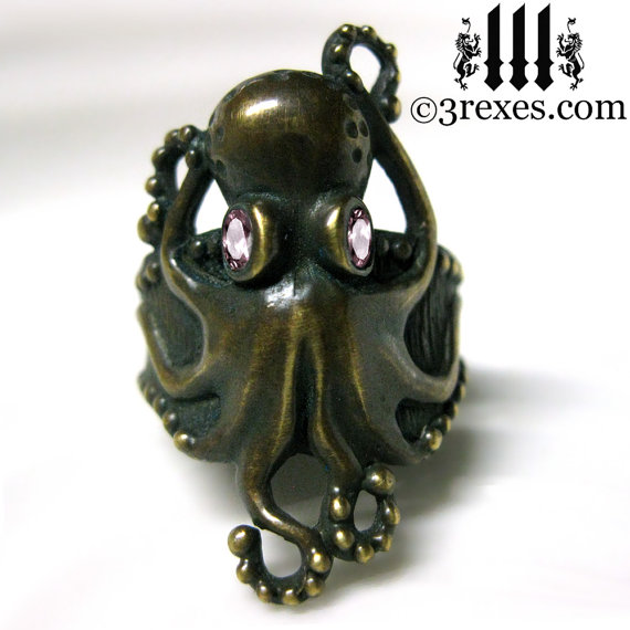 Octopus Ring Antiqued Dark Brass Gothic Pink CZ Eyes Size 5.5 by 3RexesJewelry