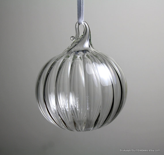 clear blown glass ornament with optical ribs by bluejaysnbumblebees