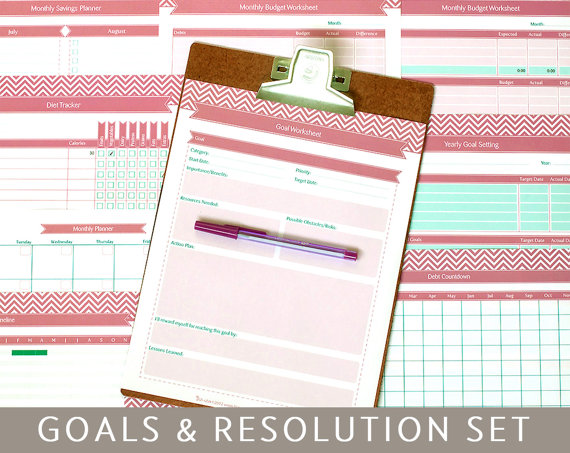 Goals Planner & New Year's Resolutions, 9 Printable Templates, Editable PDF Forms, A4 and Letter Size, Instant Download by Bizuza
