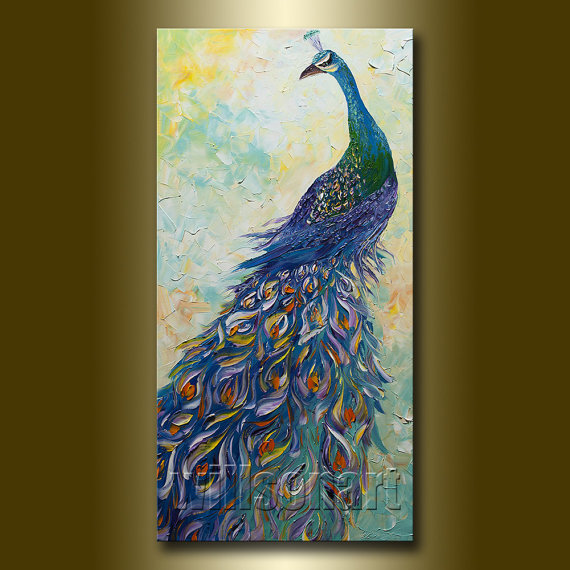 Peacock Painting Original Oil on Canvas Textured Palette Knife Modern Animal Art 18X36 by Willson Lau by willsonart