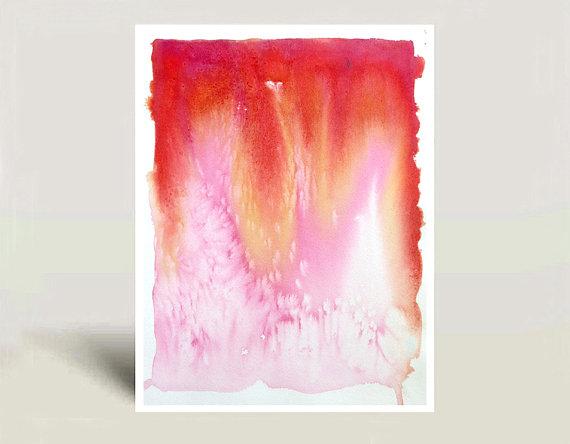 Original Watercolor Painting Abstract Art Color Block