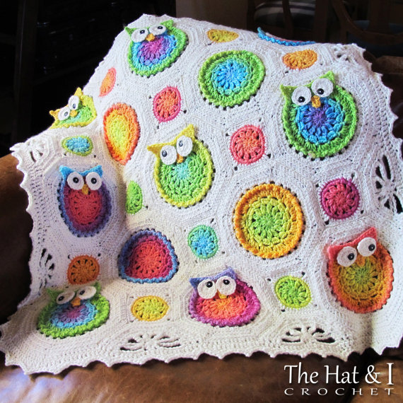 CROCHET PATTERN - Owl Obsession - a CoLorFuL owl blanket - Instant PDF Download by TheHatandI
