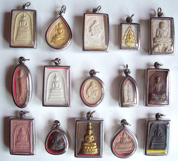 15 Thai Buddhist Buddha Buddhism Clay Amulet Medallions Charms Pendants Set by luckybkk