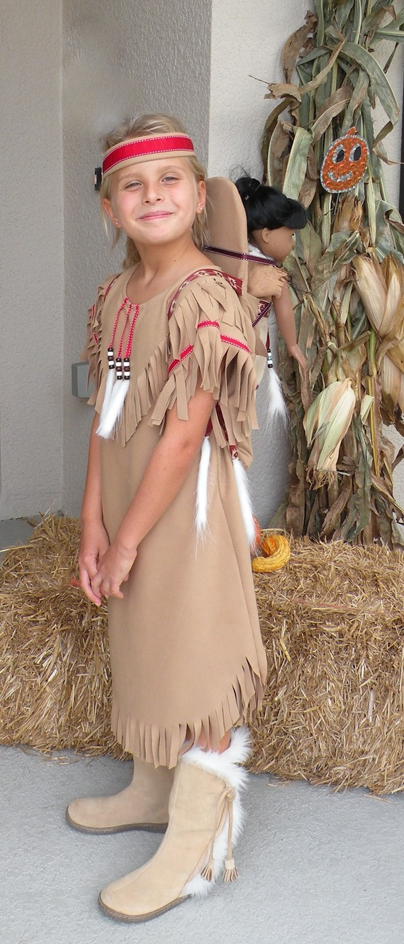 Native American inspired Girl Indian pretend dress up fun Costume for children size 6 through 12 by MainstreetX