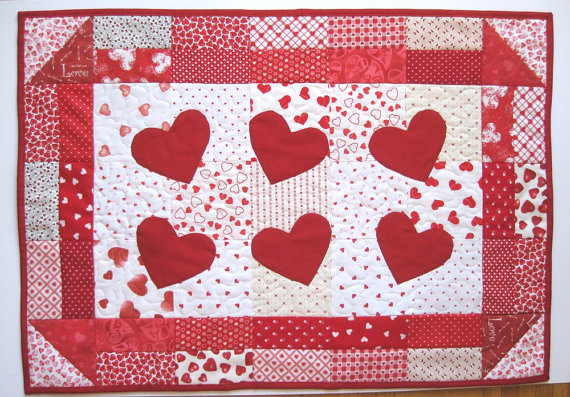 Dancing Hearts Wallhanging by judywhitneycreations