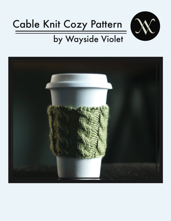 Cable Knit Coffee Cozy Pattern by waysideviolet
