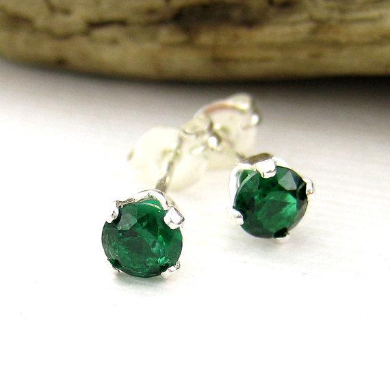 Emerald Stud Earrings Gemstone Post Earrings Sterling Silver 4mm May Birthstone Dainty Petite Kelly Green by JenniferCasady