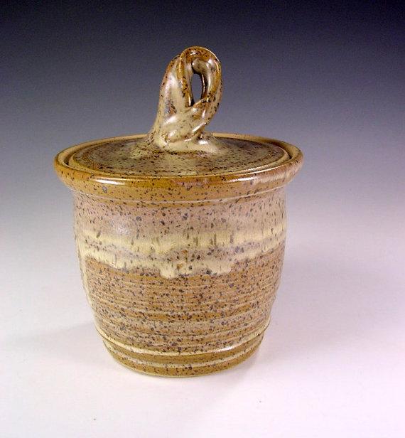Ceramic sugar jar, pottery salt cellar, ceramic lidded jar, stoneware jar with lid, ceramic salt cellar, pottery bathroom storage jar by WillowTreePottery