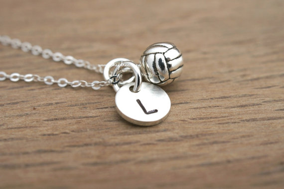 VOLLEYBALL NECKLACE, STERLING Silver Volleyball Necklace, Personalized Sports Jewelry, Sterling Silver Initial Necklace by Cheydrea by Cheydrea