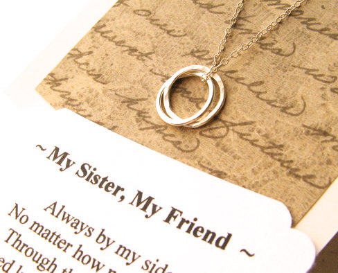 SISTER Necklace – Sister Jewelry POEM Included Sterling Silver Inseparable Rings Infinity Circles Sister Gift Wrapped by GloriousGirlJewelry