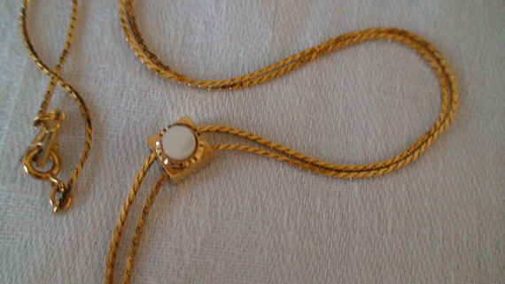Vintage Graceful Lariat Necklace, Mother Of Pearl Attachment on Lariat Slide by vintageheartstrings