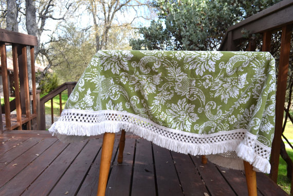 Round Floral Tablecloth Olive Green White Fringe Table Linens Vintage 1960s Mid Century Home Decor by StoryTellersVintage