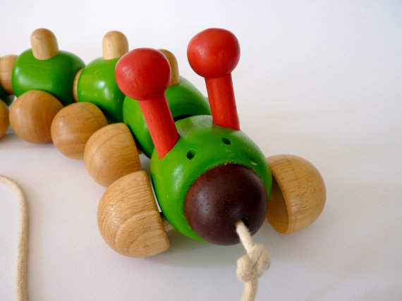 Wooden Caterpillar Pull Toy by FoxandThomas