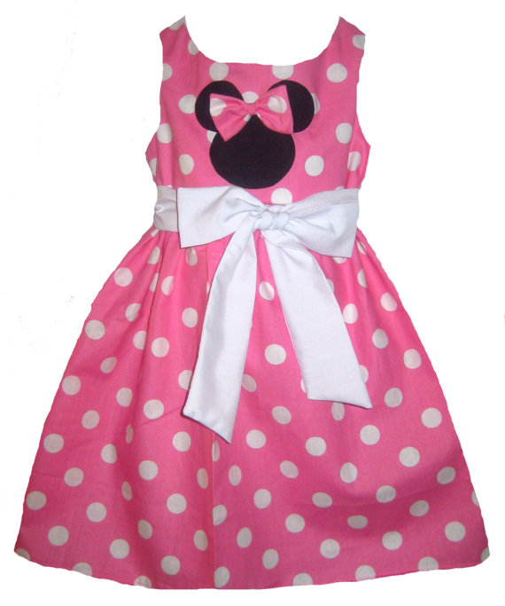 Minnie Mouse Pink or Red and White Polka Dots Sleeveless Dress Boutique 12 / 18M 24M / 2T 3T / 4T 5/6 Pageant New by littlemimisboutique