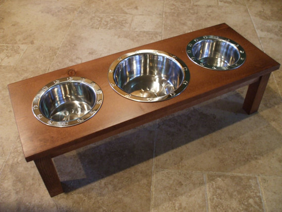 Raised Dog Bowl - 2 Quart and 1 Quart 8 Inch Triple - Classic Design - Elevated Pet Feeder - Elevated Dog Bowls - Raised Pet Feeder by WoodinYou