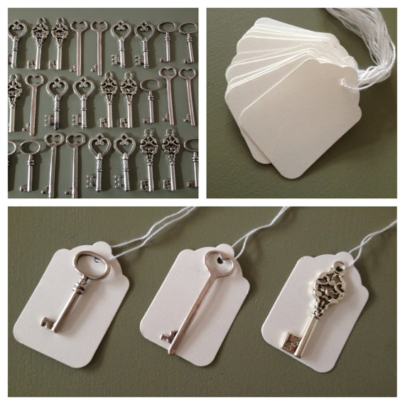 Skeleton Key Wedding Favors   100 Antique Silver Large Skeleton Keys   100  White Tags   Skeleton Keys  Escort Card Keys Wedding Favors Key by  thejourneysendSkeleton Key Wedding Favors   100 Antique Silver Large Skeleton  . Antique Wedding Favors. Home Design Ideas