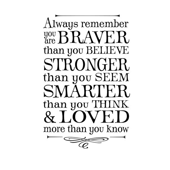 Always remember you are braver than you believe ... winnie the pooh quote, lettering art, vinyl wall decal by OldBarnRescueCompany