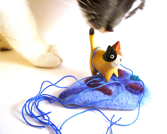 Blue Giardia Wool Catnip Cat Toy - Needle Felted Wool by Mycrobe