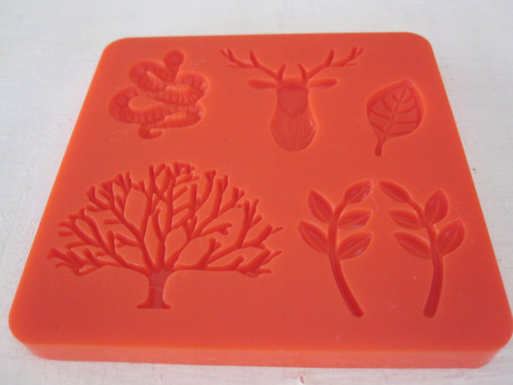 deer antlers tree snake leaf silicone rubber mold - 6 designs resin, polymer clay, mod melts, candy, utee, plaster, wax, soap, epoxy clay by cathiefilian