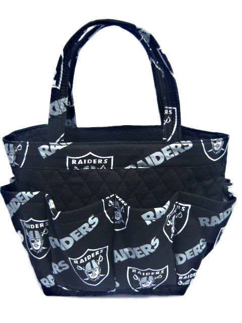 Oakland Raiders Bingo Bag // Craft Organizer // Makeup Organizer // Caddy // Teacher Tote // Nurse Tote by sewtrendyrose