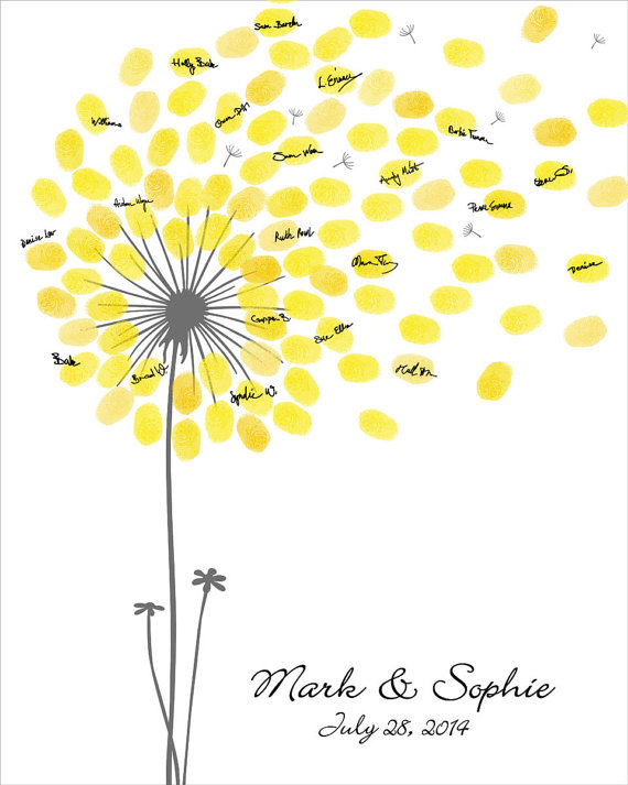 Wedding guest book dandelion fingerprint anniversary for Dandelion flowers and gifts