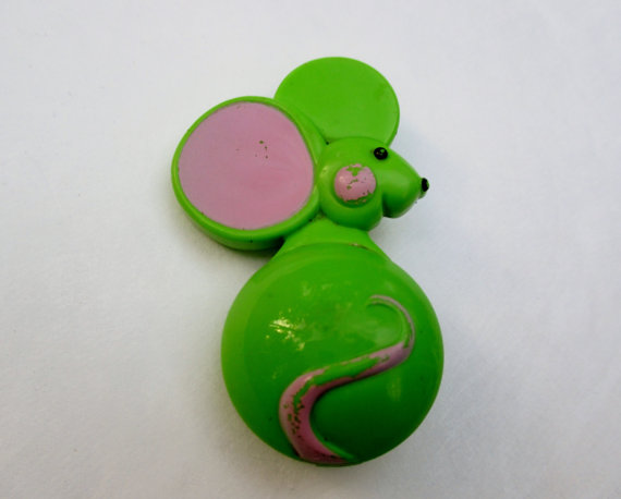 CLEARANCE Sale Vintage Avon 1970s Glace Pin-Pals Collectible Pin ... RARE Green Mouse by BusyGirlVintage