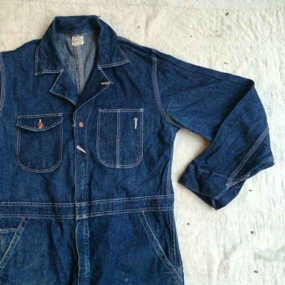 vintage 1930s JC Penney Co. Super Big Mac Sanforized Shrunk dark indigo denim coveralls, sz 40 by MouseTrapVintage