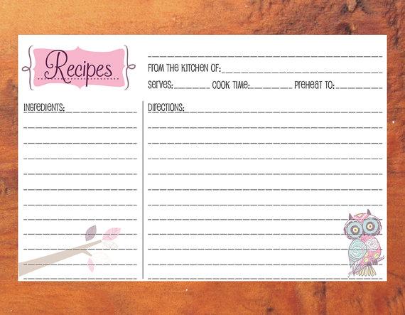 pink owl u0026 branch recipe cards printable digital download cards 46 recipe cards bridal shower recipe cards instant download by artbymark