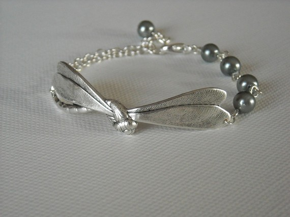 Free Shipping -Dragonfly Bracelet, Friendship bracelet, bangle bracelet, cuff, silver bracelet, gift, bridal by BeadsStory