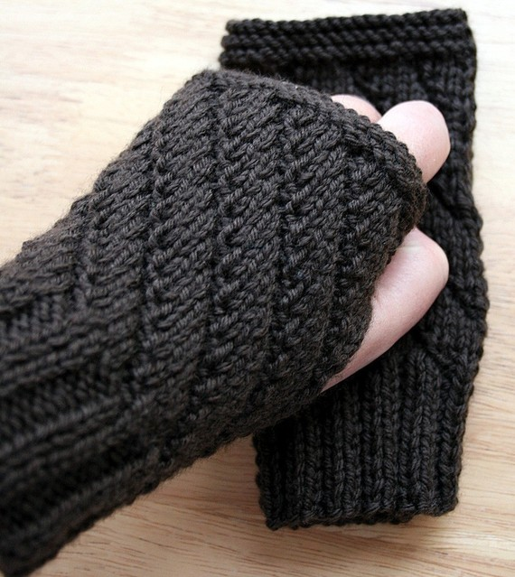 KNITTING PATTERN - Darting Diagonals Fingerless Gloves / Mitts / Gauntlets - Knitting Pattern Electronic Delivery. Instant Digital Download by AtelierTPK