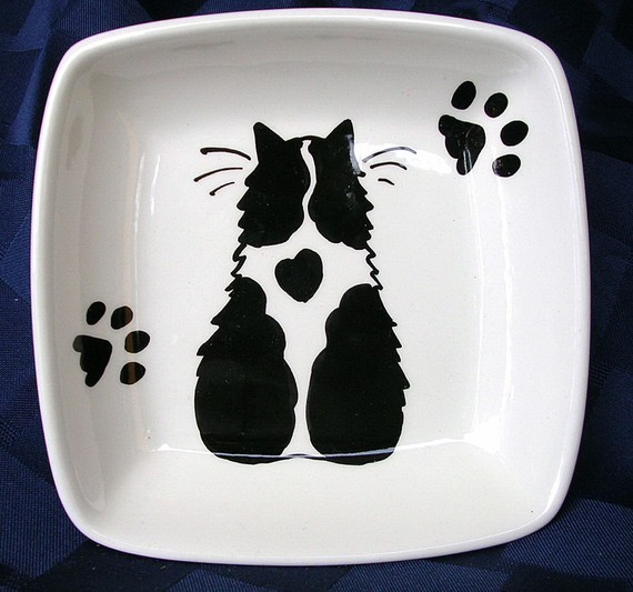 Black & White Cat With Heart Handmade On Square Ceramic Dish / Bowl by Gracie by GoodNiteGracie