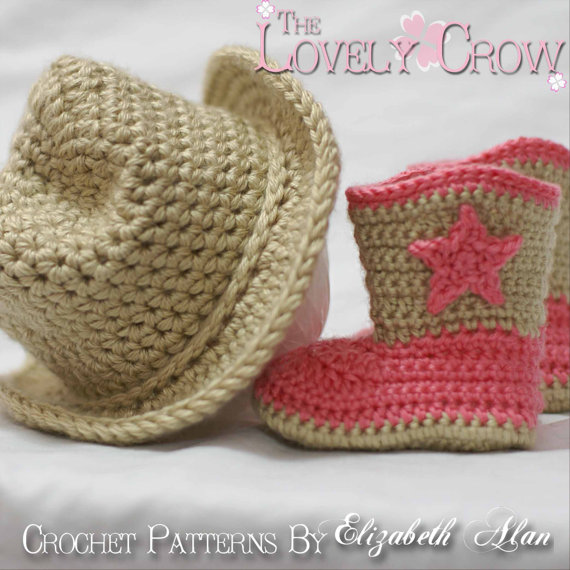 Cowboy Crochet Patterns. Includes patterns for Boot Scoot'n Boots and Boot Scoot'n Cowboy Hat digital by TheLovelyCrow