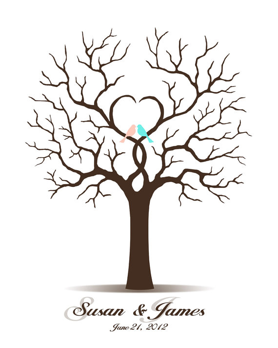 Wedding Guest Book, Guest Book Tree, Printable, Alternate Guestbook, Digital Fingerprint Tree, Thumbprint, Custom color, size, text language by CustombyBernolli