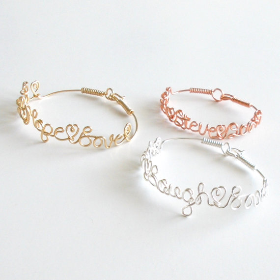 Bracelet. Wire Name Bracelet with your favorite PHRASE or NAMES. Name Bracelet. Personalized Bracelet. Wire Name Jewelry by wiremajigs