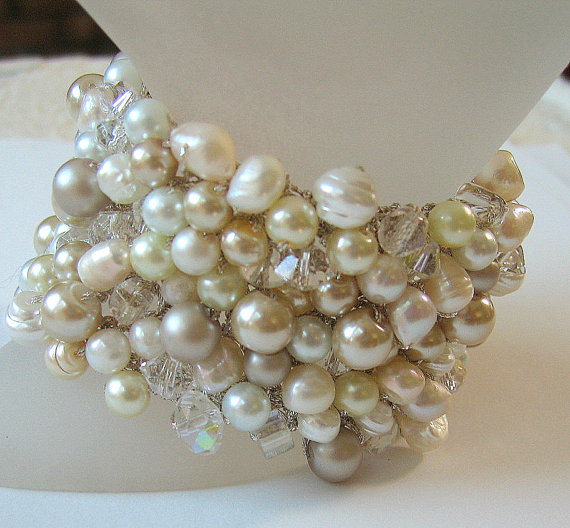 Freshwater, Pearl Mix Wedding Bracelet with Crystals, Big Wide Chunky Cuff, Ivory, White, Champagne, Hand Knit Exclusive, Sereba Designs by SerebaDesigns