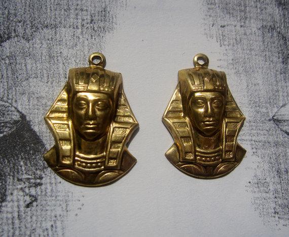 Brass Egyptian Pharoahs Head Charms One pair by BohemianNouveau