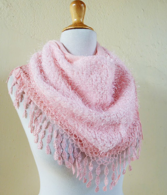 "Womens Scarf ""Nadia"" in PINK – shawl cowl neckwarmer – accessories by OriginalDesignsByAR"