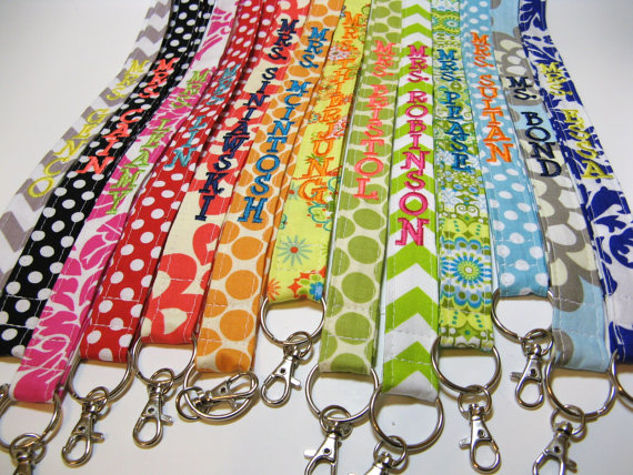 Design Your Own – Personalized Lanyard ID Badge Holder – Monogrammed – Key Strap by gracieloukangaroo