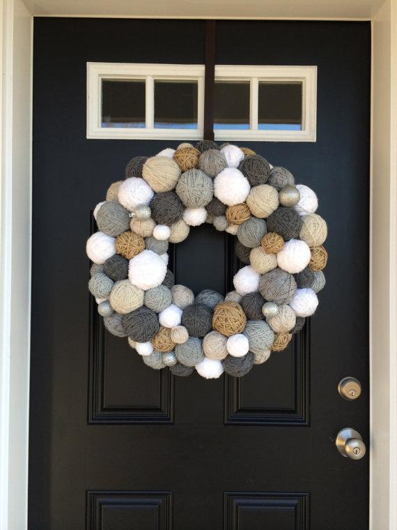 Handmade Winter Yarn Ball Wreath 22 24 Quot Wreath Door Decor Home Decor Wall Hanging Jute Wreath Winter Wreath Christmas Wreath Christmas By Embellishedliving Diy Crafts Recipes