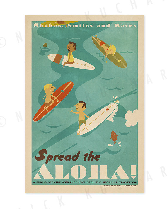Spread the Aloha – 12 x 18 Retro Hawaii Surfing Print by EverythingIsJake