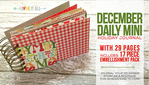 December Daily Holiday Memories Christmas Journal Mini Album Scrapbook. DIY Notebook Crafting Kit by ILoveItAll